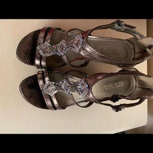 Zip up back wedge sandals